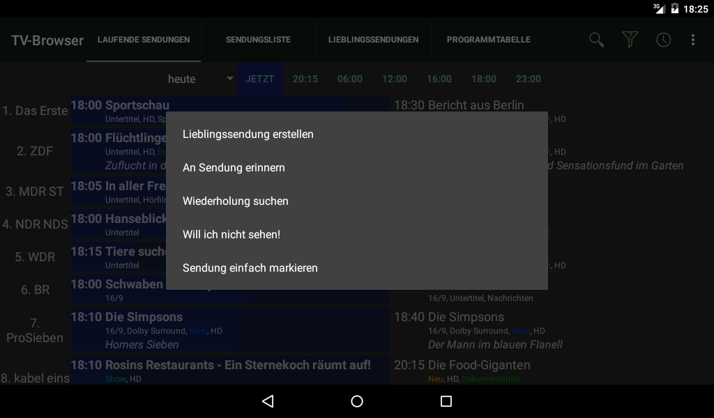 TV-Browser SimpleMarkerPlugin- screenshot