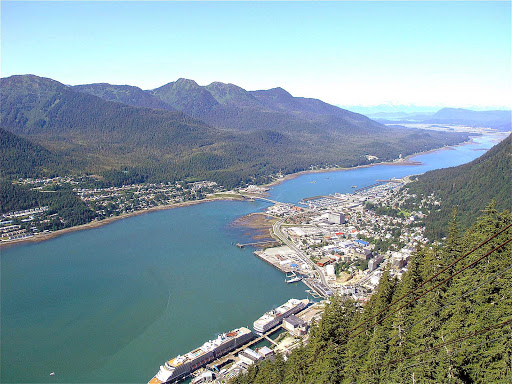 Above-Juneau - A view from high above Juneau. See? It's not all snow.