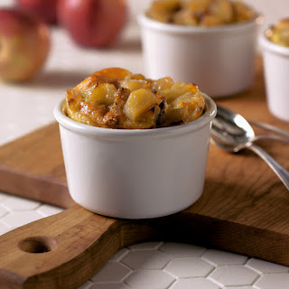Apple-Cheddar Bread Pudding with Spiced Maple Butter Sauce