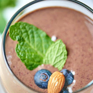Chocolate Berry Green Protein Smoothie.