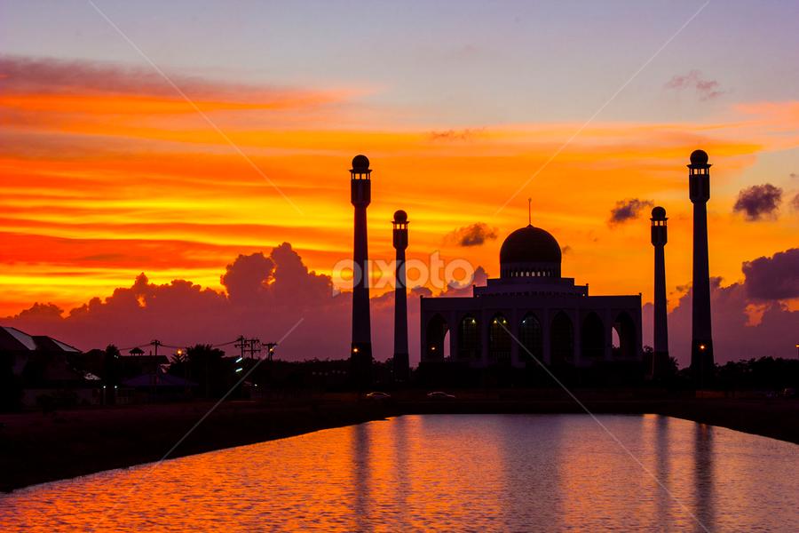 Central Masjid of Songkhla by Ronnel Masangkay - Landscapes Sunsets & Sunrises ( color, silhouette, colors, object, filter forge, landscape, portrait, , blue, orange. color )