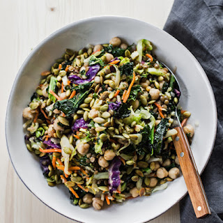 Roasted Salad with Marinated Chickpeas and Lentils.