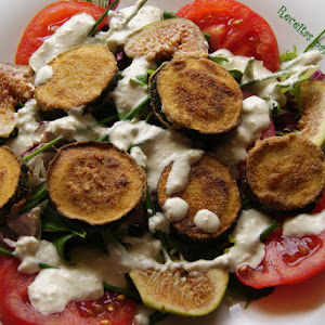 Fried Zucchini Salad with Cream Cheese Dressing