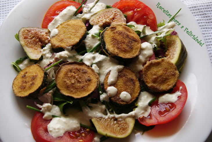 Fried Zucchini Salad with Cream Cheese Dressing Recipe