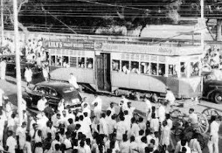 Photo: ONCE PART OF THE CITYSCAPE One of the trams which had plied on the Madras streets for long can be seen in the middle of Mount Road.