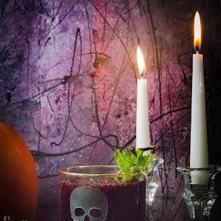 Vodka Blackberry & Elder-flower Halloween Cocktail.