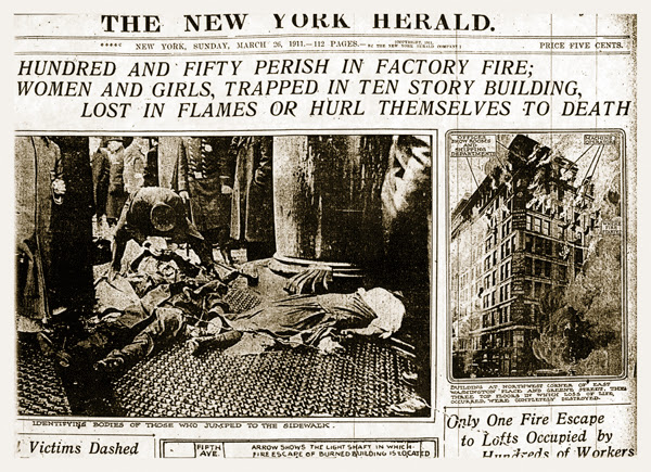 Front page of the The New York Herald the day after the fire.