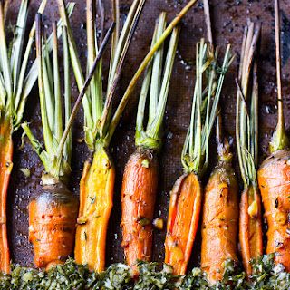 Maple Garlic Roasted Carrots with Carrot Greens Chimichurri