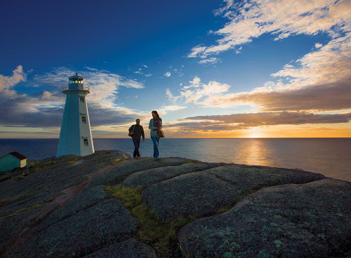 Sunrise at Cape Spear Lighthouse National Historic Site on Avalon Peninsula in Newfoundland.