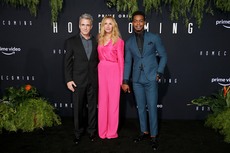 Actors Dermot Mulroney, Julia Roberts and Stephan James attend the premiere of Amazon Studios' 'Homecoming'.