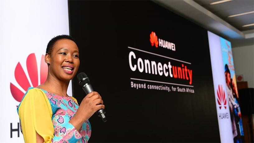 Stella Ndabeni-Abrahams speaking at Huawei's ConnectUnity launch.