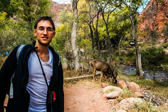 Photo: Daniele and our houseguest at our campsite at the bottom of the Grand Canyon Nation Park, Arizona, USA