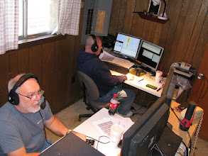 Photo: Terry W8ZN (foreground) on 20m SSB and Mike N2NAR (background) on V/UHF FM