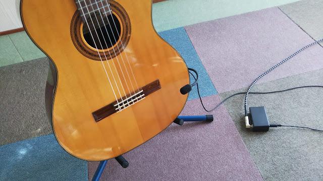 クラシックギターに取り付けるコンデンサーマイク作った