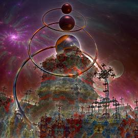 Crosses Of The Three Ring by Rick Eskridge - Illustration Sci Fi & Fantasy ( fantasy, jwildfire, mb3d, fractal, twisted brush )