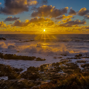 Sunset at Bean Hollow Beach by Drew Campbell - Landscapes Sunsets & Sunrises