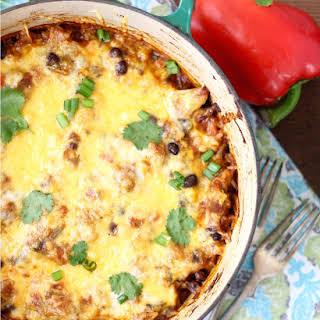Mexican Chicken, Rice and Veggie Casserole.