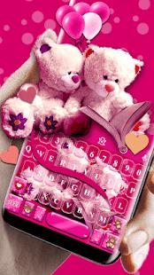 Pink Teddy Emoji Keyboard - náhled