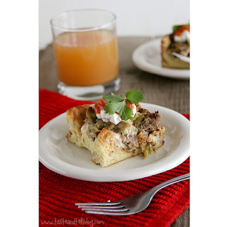 Sausage, Mushroom and Green Chile Breakfast Casserole.