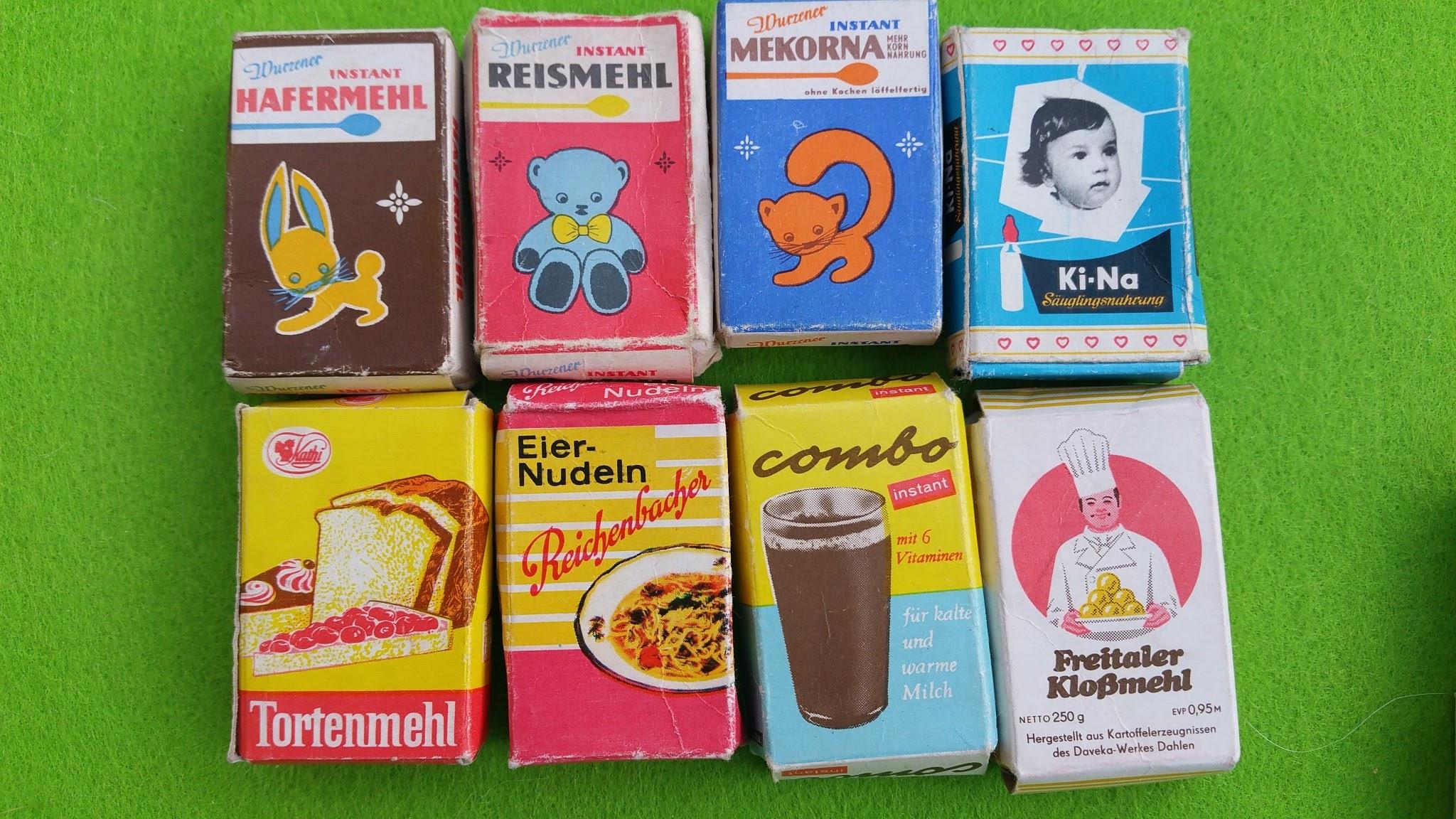 Kaufladen - DDR - Kindernahrung, Mehl, Kakao, Nudeln