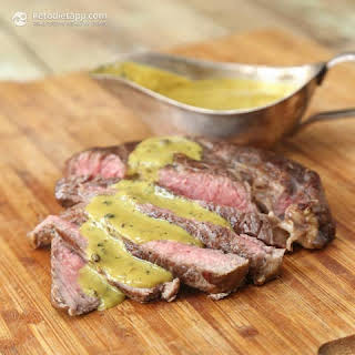 Steak with Quick Mustard & Peppercorn Sauce.