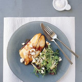 Pan-fried John Dory agrodolce with endive and goat's cheese.
