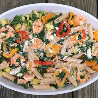 Pasta With Shrimp, Zucchini and Goat Cheese.