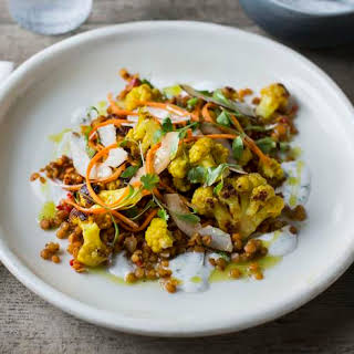 Spiced Cauliflower With Toasted Coconut And Red Lentils.