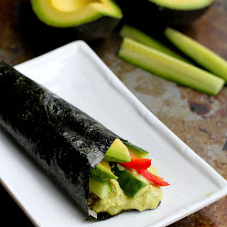 Vegetable Hand Roll Recipe (Temaki) with Avocado Wasabi Yogurt