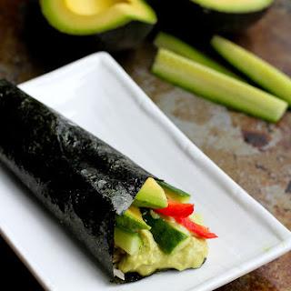 Vegetable Hand Roll Recipe (Temaki) with Avocado Wasabi Yogurt.