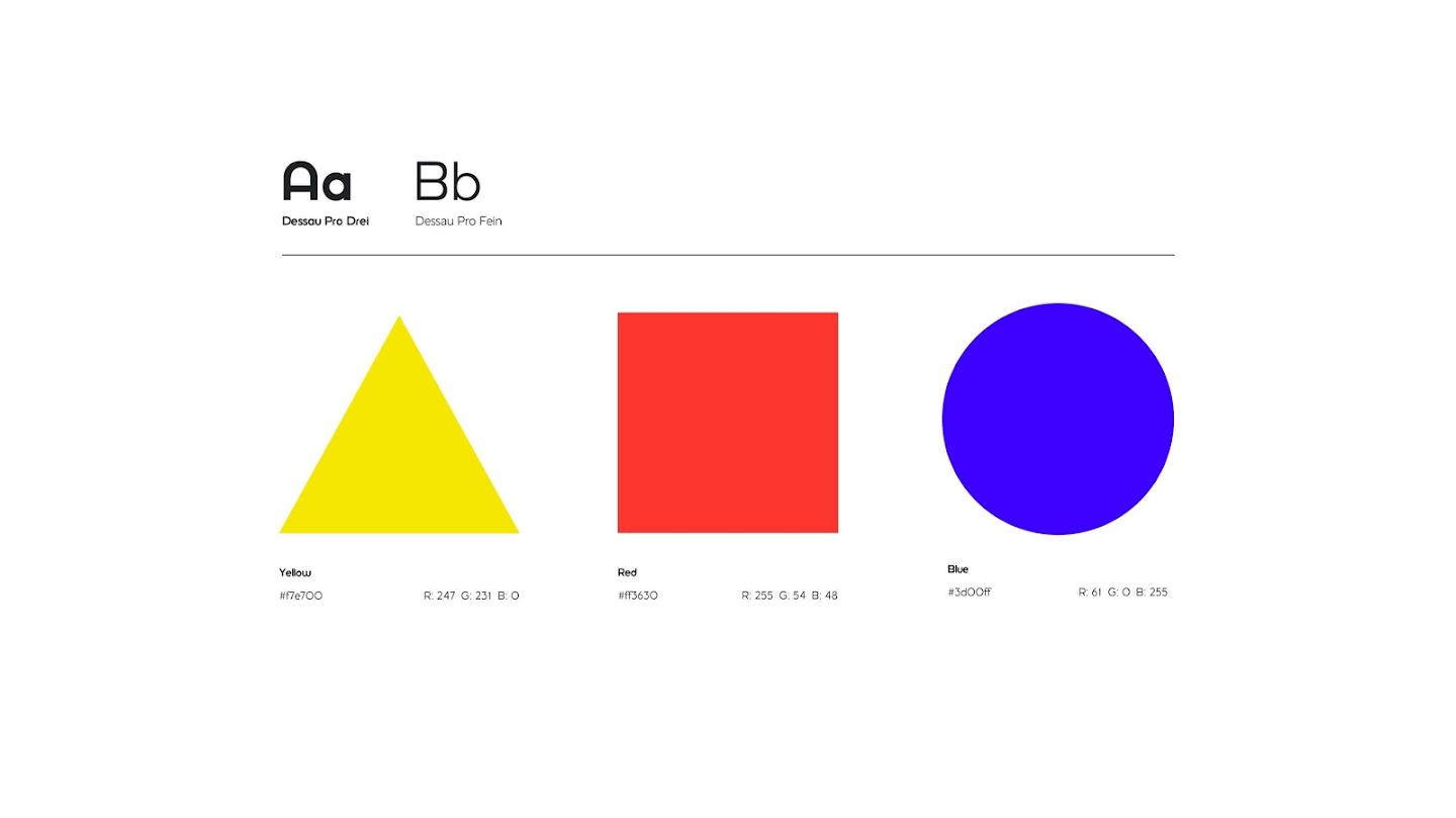 Typography, simple colour palette of yellow, red and blue, and iconic use of geometrical shapes