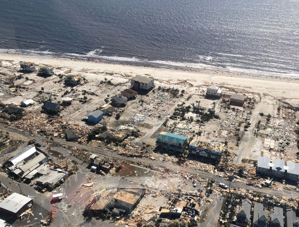 An aerial photo shows homes and businesses destroyed after Hurricane Michael smashed into Florida's northwest coast in Mexico Beach, Florida, on October 11 2018. Picture: COURTESY JAMES E. WYATT/US CUSTOMS AND BORDER PROTECTION/HANDOUT VIA REUTERS