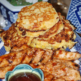 BBQ Chicken Tenders with Corn Fritters.