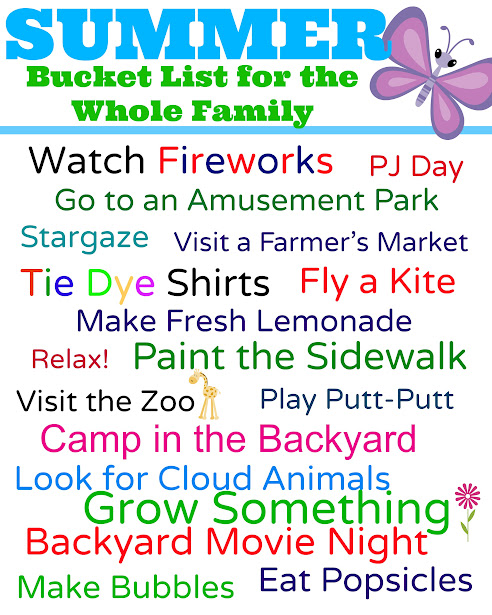 Free Printable Checklist of Summer Bucket List Ideas for the Whole Family - don't forget to make fresh lemonade, go camping in your backyard, and catch some fireworks!