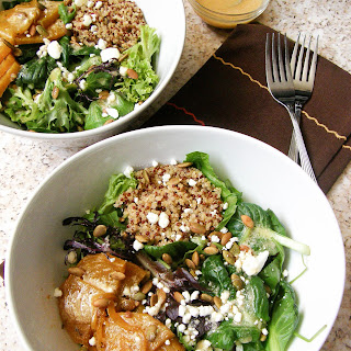 Greens, Beets and Quinoa Bowl with a Tahini Vinaigrette.