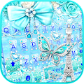 Blue Paris Butterfly Keyboard Theme APK