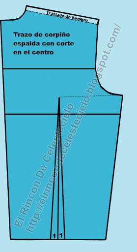 Marcando traslado de hombro en patrón corpiño espalda con corte en el centro