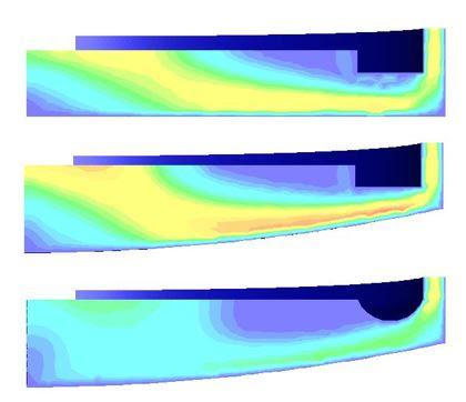 ANSYS Распределение скорости топлива в осевом сечении в нескольких вариантах нижней камеры реактора