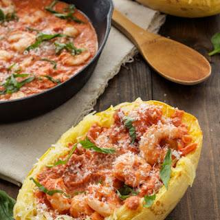 Spicy Tomato Garlic Shrimp with Spaghetti Squash