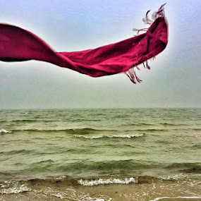 Scarf in the wind by Mane Manich - Artistic Objects Other Objects ( scarf wind sea beach horizont art abstract colours waves )
