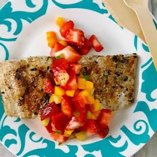 Grilled Fish Topped with Strawberry Salsa.