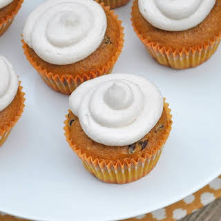 Pumpkin Chocolate Chip Cupcakes with Cinnamon Cream Cheese Frosting.