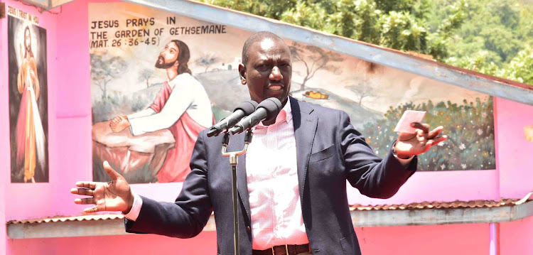 Deputy President William Ruto during a church empowerment programme at Tunyai Parish Catholic Church, Chiakariga Tharaka-Nithi County on February 22, 2020.