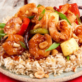 Healthy Takeout Kung Pao Shrimp With Three Peppers, Honey Roasted Peanuts, and Brown Rice