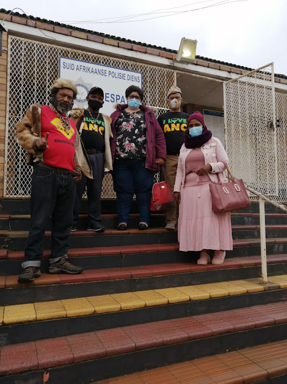 Khoi and San chiefs Kora Henning and Amseb Bekkies with former roads and transport MMC and ANC councillor Rosie Daaminds, Christian Martin and ANC Women's League convener Nolubabalo Sifali at the Despatch police station on Saturday morning