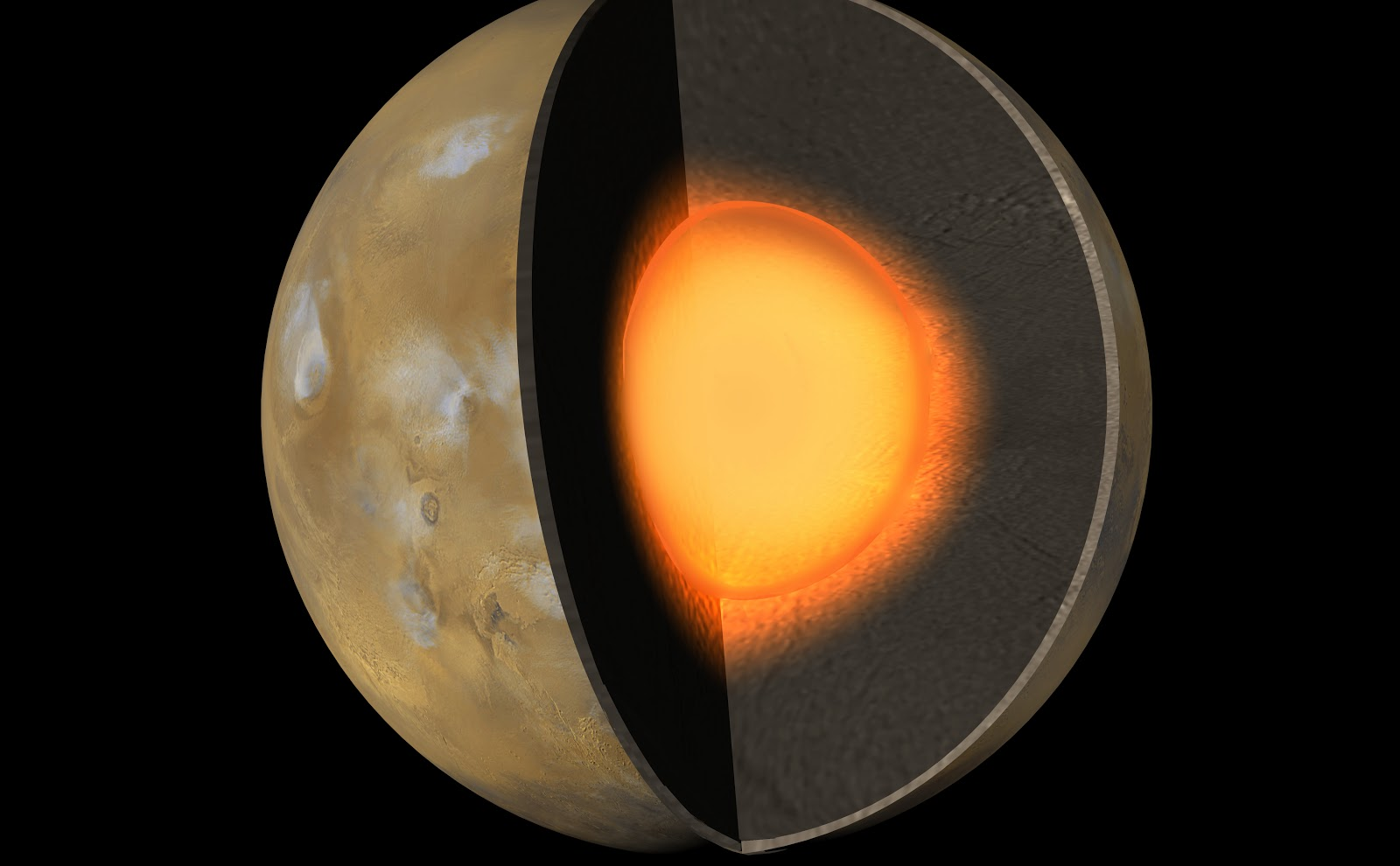 Mars with a cut out to reveal crust, mantle and core