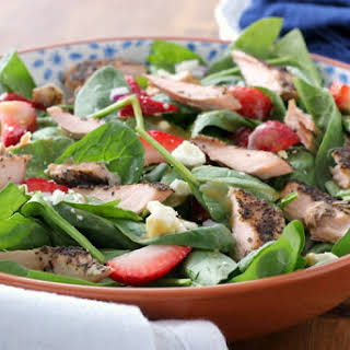 Baked Salmon Strawberry Spinach Salad.
