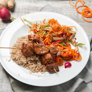 Honey & Ginger Salmon Skewers With Rainbow Slaw & Brown Rice