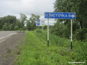 Photo: All this time, that's where they've been...(Lastochka, written on the sign in Cyrillic, means swallow)