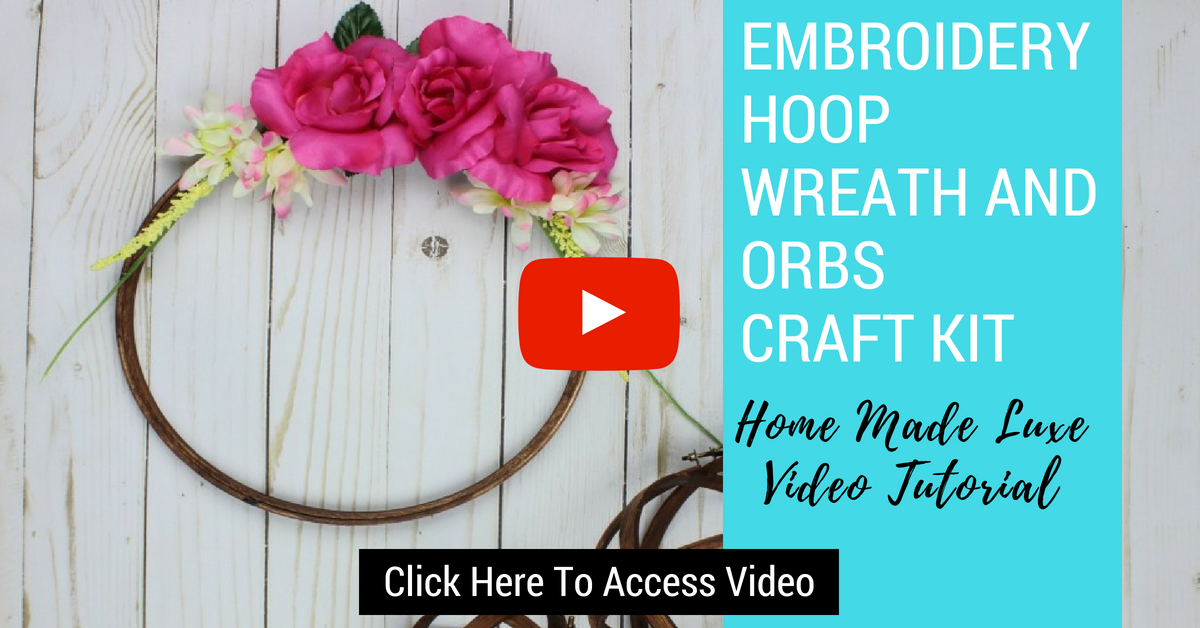 Click here to access embroidery hoop wreath and orb craft